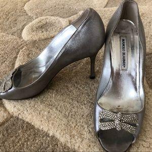 Manolo Blahnik Hangisi Silver heel w/crystal bow